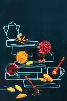 Tea with drawn books by Dina (Food Photography)