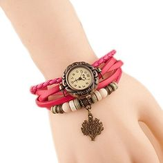 Hosaire Watch Bracelet Vintage Multilayer Weave Wrap Around Leather Chain Bracelet Quartz Wrist Watch with Tree Pendant for Women Men Rose  ❤️Round watch dial with Arabic numerals hour indexes. 3 small hands display hour/min/sec, 12 hours Function  ❤️Material: leather watchband and alloy dial pedant  ❤️Multi-layer leather strap, adjustable with metal buckles to fit most people  ❤️NB: not waterproof, please take care; battery included  ❤️Also a braclet decoration