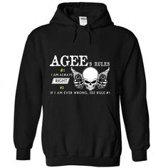 AGEE RULES - #athletic sweatshirt #black sweatshirt. PURCHASE NOW => https://www.sunfrog.com/Names/AGEE-RULES-5361-Black-Hoodie.html?68278