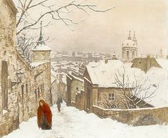 The Stairs of the Castle in Winter [Prague], 1926. Tavík František Šimon (Czech, 1877-1942)