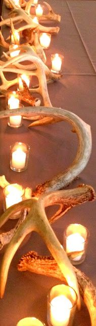 Antlers and candles used for Bridal Party table.