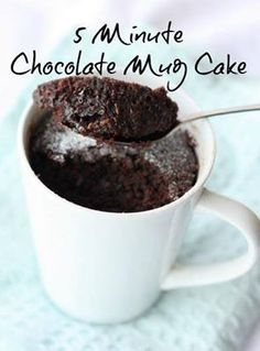 The Chocolate Mug Cake  Serves 1      2 tablespoons coconut flour OR plain spelt flour OR wholemeal plain flour   1 tablespoon cacao powder   1 ½ tablespoons almond milk or coconut milk   1 tablespoon coconut oil   1 tablespoon of rice malt syrup or raw honey   1 teaspoon Stevia or Natvia {granulated}    1 teaspoon pure vanilla extract   1 egg white  Method:  Combine ingredients in a bowl and mix  Pop mixture into a microwave safe mug   Microwave for 1 minute to 2 minutes until cooked.