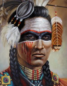 Native+American+Warriors | Red Road Warrior Detail Painting by Geraldine Arata - Red Road Warrior ...