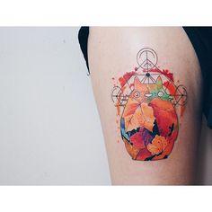 Totoro #watercolor #watercolortattoo #tattoo #abstracttattoo #geometric…