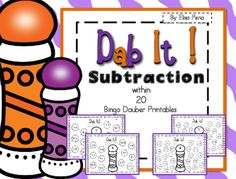 Subtraction Bingo Dauber Printables from Elisa Pena on TeachersNotebook.com -  (20 pages)  - Subtraction Bingo Dauber is a fun way for students to practice their subtraction fluency skills. Students will dab the correct equation with a bingo dauber or can color it with a crayon.