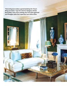 Tory Burch's sitting room with the tortoiseshell cocktail table now replaced by a stunning Yves Klein plexiglass one filled with gold leaf. Style At Home, Living Room Inspiration, Home Decor Inspiration, Emerald Green Rooms, Living Room Decor, Living Spaces, Dining Room, Dining Chairs, Home Interior