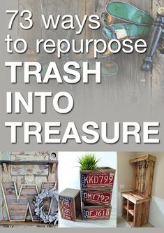 The best DIY projects & DIY ideas and tutorials: sewing, paper craft, DIY. DIY Furniture Plans & Tutorials : 73 ways to repurpose trash into treasure -Read Upcycled Crafts, Repurposed Items, Diy Crafts, Recycled Decor, Upcycled Vintage, Diy Projects To Try, Craft Projects, Deco Dyi, Diy Furniture