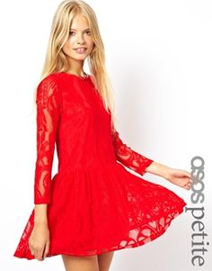 ASOS+PETITE+Exclusive+Lace+Dress+with+Peplum+Hem. Cute for the holidays