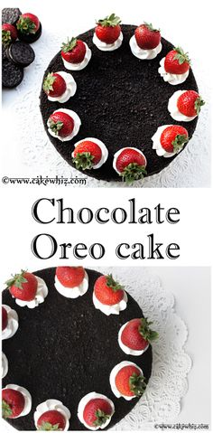 Sinfully delicious CHOCOLATE OREO CAKE with chocolate buttercream, crushed Oreos and fresh strawberries. From cakewhiz.com