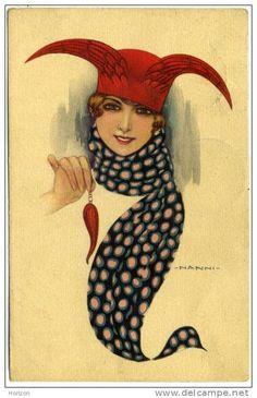 """Giovanni Nanni painting, 1918, """"Donnina con cornetto portifortuna"""" -- Italian good luck charm"""