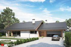 Projekty domów - Projekt domu parterowego KOS IX - wizualizacja 1 Home Fashion, Exterior Design, Merlin, House Plans, Garage Doors, Sweet Home, House Styles, Outdoor Decor, Studio