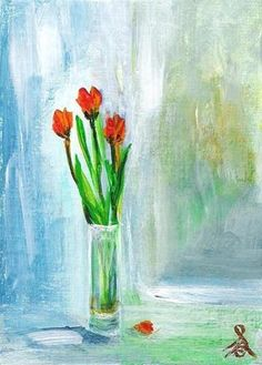 """""""Cat # 13070 - 3 SPRING TULIPS"""" ACEO or ATC by Sea Dean - Professional Acrylic finished to exacting collector standards. Signed front and back and including a Certificate of Authenticity. I'm always happy to recreate one of my miniatures in any size on commission #seadean #paintamasterpiece #ACEO #ATC #painting #tulips #still life #blue - Copyright 2013 Sea Dean. Pins or shares permitted with this description attached."""