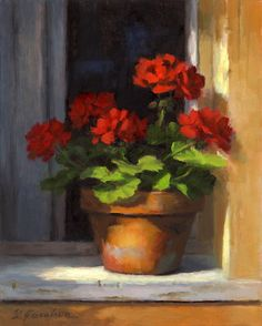 "Daily Paintworks - ""Geraniums on Sill"" - Original Fine Art for Sale - © Linda Jacobus Art Floral, Watercolor Flowers, Watercolor Art, Simple Watercolor, Painting Flowers, Oil Painting Abstract, Painting Art, Red Geraniums, Still Life Flowers"