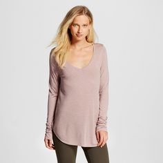 Women's Long Sleeve V-Neck Tee Pink Xxl - Mossimo