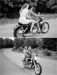 Boho chic engagement session, Motorcycle ride...