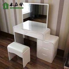 Moderne minimaliste blanc brillant peinture piano chambre commode et coiffeuse IKEA dressing table télescopique pour petit appartement