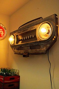 Awesome Toyota 2017: Vintage Toyota Land Cruiser FJ40 grille/bib - steampunk lighting wall art Landcruiser 1983 Check more at http://carsboard.pro/2017/2017/01/28/toyota-2017-vintage-toyota-land-cruiser-fj40-grillebib-steampunk-lighting-wall-art-landcrui