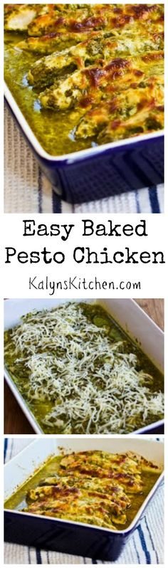 This Easy Baked Pesto Chicken is perfect for a quick family dinner that's #LowCarb and #GlutenFree. This has been a huge hit on the blog! [from KalynsKitchen.com] #BackToSchool #FamilyDinner