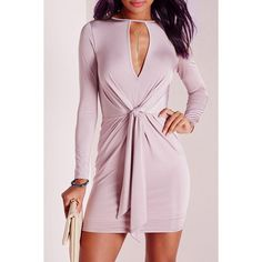 Alluring Round Collar Pink Self-Tie Long Sleeve Dress For Women