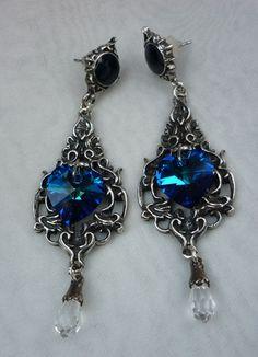 Alchemy Gothic Empress Eugenie s Earrings blue Swarovski crystal