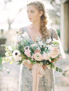 Romantic Serenity & Rose Quartz Bridal Bouquet \\ Photography - Charla Storey