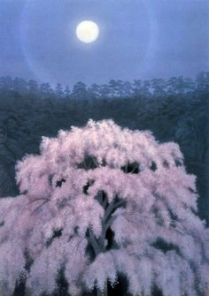 Image of Moonlit Cherry Blossoms, Japanese painting from the art & design photos of Japanalia. Japanese Art Modern, Japanese Prints, Nocturne, Landscape Art, Landscape Paintings, Landscapes, Moonlight Painting, Art Chinois, Japanese Water