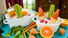 Ingredients 1 cup Frozen mango 1/2 Large banana 1 cup Firmly packed baby spinach 1 cup Fruit juice DIY Healthy Popsicles - Home & Family  Ken Wingard is whipping up a sweet and healthy treat that your kids will love. Instructions  1. Pour all ingredients until smooth  2. Pour into popsicle molds  3) Put in the freeze and leave for 2-3 hours  Return to the Episode Guide >>  Check out more delicious recipes at the Home & Family Pinterest Page