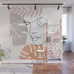 Jungle Line Girl Wall Mural by cafelab Wall Murals Bedroom, Bedroom Decor, Wall Painting Decor, Wall Decor, Wall Art Designs, Wall Design, Wall Drawing, Home Room Design, Mural Art