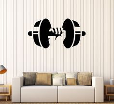 Vinyl Wall Decal Dumbbell Gym Fitness Club Bodybuilding Stickers (336ig)