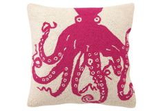 One Kings Lane - All for Nautical - Octopus 18x18 Pillow, Magenta