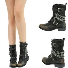 BLK LACE UP METAL CHAIN LOW FLAT HEEL MILITARY COMBAT MID CALF ANKLE BOOT BOOTIE