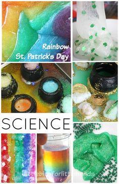 St Patricks Day Rainbow Science Slime baking Soda Density Crystals