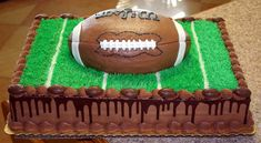 Football groom cake- usually not a fan of sheet cakes at a wedding, but how cute Football Grooms Cake, Football Wedding, Football Cakes, Funny Grooms Cake, Wedding Cake Toppers, Wedding Cakes, Sports Birthday Cakes, Anchor Cakes, Wedding Sweets