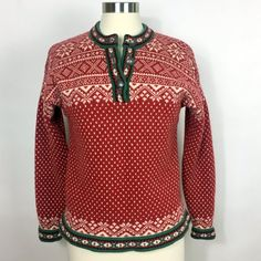 Eddie Bauer Holiday Wool Sweater/Wool Holiday Sweater/Nordic Christmas Sweater/Women's S/M Wool Sweater/Made in Australia/Fair Isle Sweater Holiday Sweaters, Christmas Sweaters For Women, Wool Sweaters, Nordic Christmas, Snowflake Pattern, Sweater Making, Metal Buttons, Eddie Bauer, Red Green