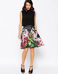 Ted Baker Full Skirt in Mirrored Tropical Print