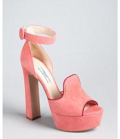 pink block heeled suede ankle strap | Prada Pink and Plum Suede Loafer Ankle Strap Platform Pumps in Pink