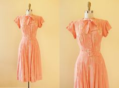 Vintage 1930s Dress - 30s 40s Dress - Pink Rayon Novelty Deco Dress w Bullet-Shaped Jewels S - Bubbling Over by jumblelaya on Etsy