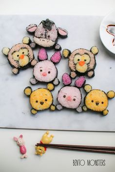 Disney Sushi is by Ming of Bento Monsters. Kawaii Bento, Cute Winnie The Pooh, Cute Bento Boxes, Sushi Art, Sushi Food, Sushi Sushi, Edible Crafts, Bento Recipes, Food Humor