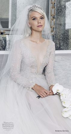 romona keveza fall 2018 bridal long sleeves illusion jewel deep v neck heavily embellished bodice tulle skirt princess romantic a line wedding dress (2) zv -- Romona Keveza Collection Bridal Fall 2018 Wedding Dresses