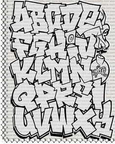 "Sketch Alphabet Graffiti ""Black and White"" on Paper Alphabet Graffiti , a graffiti art which utilizes character alphabet to serve as a graff. Graffiti Text, Easy Graffiti Letters, Graffiti Alphabet Styles, Graffiti Lettering Alphabet, Graffiti Writing, Graffiti Styles, Alphabet Letters, Graffiti Creator, How To Do Graffiti"