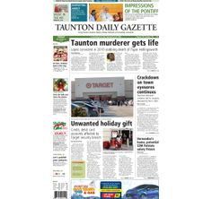 The front page of the Taunton Gazette for Friday, Dec. 20, 2013.