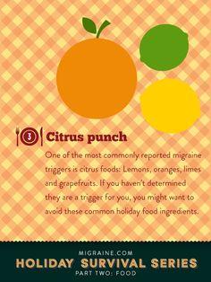 Food: a Migraine.com holiday survival guide - citrus is a trigger food   Migraine.com
