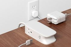 Portiko is a 6-foot extension cord with two outlets and two USB ports. Looking for an extra magnetic plate? Click here.