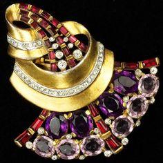 Trifari 'Alfred Philippe' Gold Ruby and Amethyst Fan Swirl Pin Clip mm