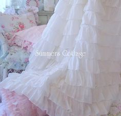 SHABBY COTTAGE CHIC DREAMY COTTON RUFFLES SHOWER CURTAIN