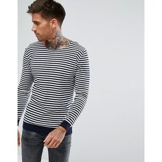 Pull&Bear Nautical Striped Jumper In Navy (471.630 IDR) ❤ liked on Polyvore featuring men's fashion, men's clothing, men's sweaters, navy, mens lightweight sweaters, old navy mens sweaters and mens tall sweaters