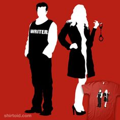 Castle and Beckett silhouette t-shirt. Fans of the t.v. show Castle, this is for you!