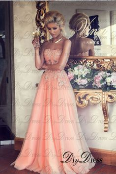 New Arrival A-line Strapless Lace Appliqued Bodice Blush Tulle Skirt Long Prom Dresses for 2015 Party APD1279