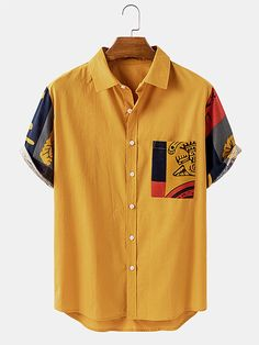 African Clothing For Men, African Shirts For Men, African Men Fashion, Casual Shirts For Men, Men Casual, Mens Printed Shirts, Mode Streetwear, Collar Shirts, Men's Shirts