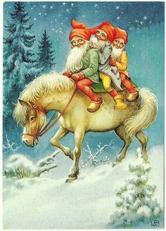 Lars Carlsson Gnomes Bareback on Horse on Snow Covered Field Christmas Postcard Illustration Noel, Christmas Illustration, Illustrations, Scandinavian Art, Scandinavian Christmas, Vintage Christmas Cards, Christmas Pictures, Vintage Postcards, Vintage Cards
